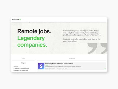 Sequoia Web Page - Remote Jobs Portal website web ux ui uiux web designer sequoia brand design web design