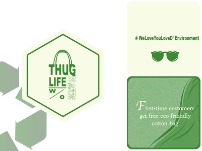 Thug Life without Plastic_Grocery store logo weeklywarmup weekly-warmup rebound tote bag hexagon logo sunglasses free gift clean shore go green waste free no plastic bags eco-friendly thug life branding illustration logo