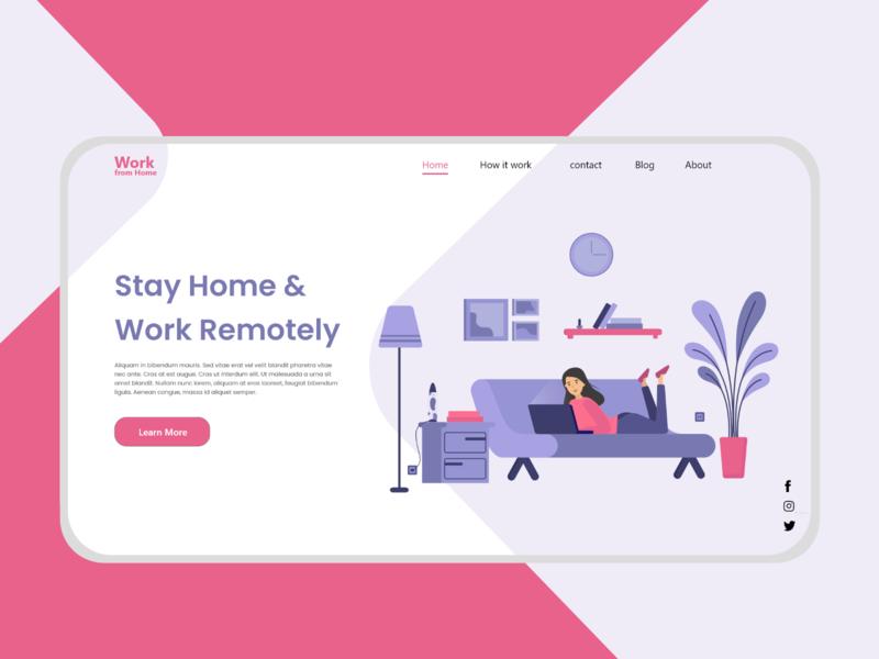 Work From Home - Remote Work Landing Page remotework remote work logo creative branding website website design web design landing page design covid-19 coronavirus