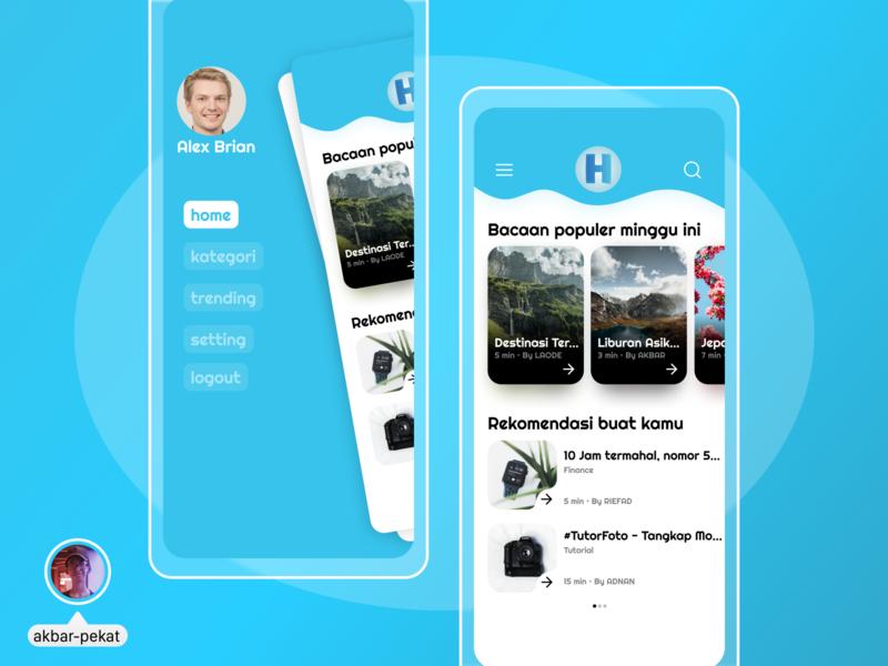 Blog App UI Design mobile figma design ui akbarpekat