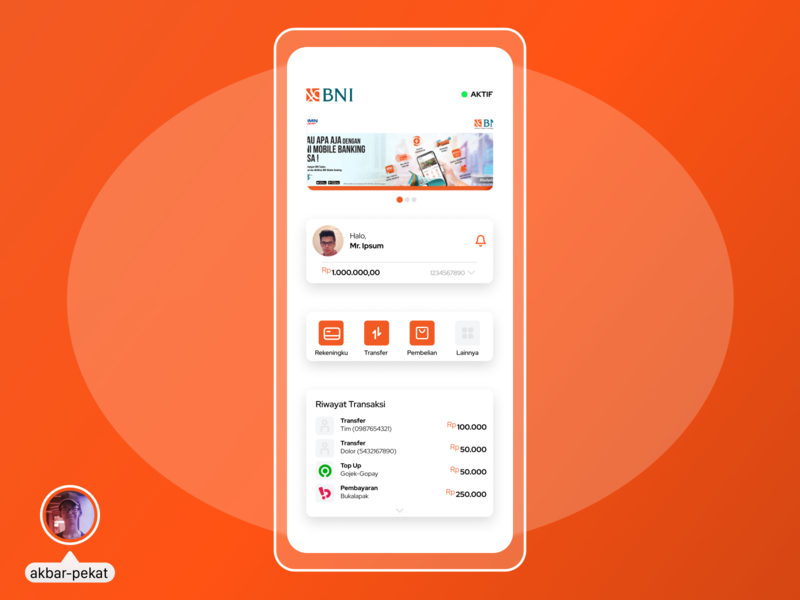 BNI Mobile Banking App UI Design mobile figma design ui akbarpekat