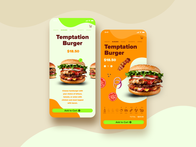 Hamburger App foodapp food hamburger mcdonalds burger king burger design app concept mobile ux ui  ux ui