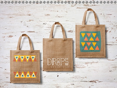 Drops - Beach Bar // Tote Bags patterns palette warm drops colours bags tote logotype handmade beach-bar aztec branding