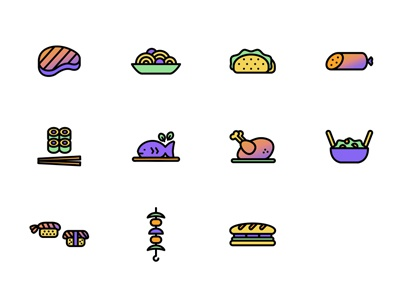 Gastronaut food icons fish sandwich salami spaghetti sushi illustrations icons international homemade gastronomy gastronaut cooking
