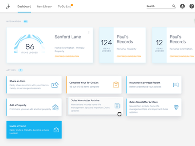 Dashboard for home inventory app full page typography ui design card design card application responsive blue minimalistic ux design dashboard app ux dashboard