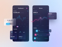 Cryptocurrency apps money currency cryptocurrency crypto wallet coins monero ripple etherium bitcoin minimalist dashboard mobile chart app ux ui design dark clean