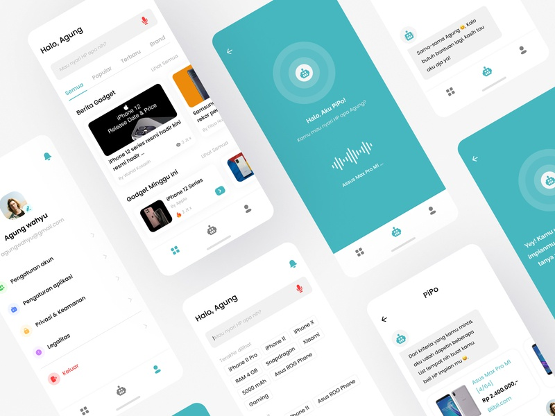 PiPo - Gagdet Finder Personal Assistance artificial ux ui minimalist clean apps mobile design google ok siri hey smart assistance personal