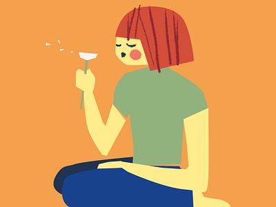 Girl with dandelion illustration