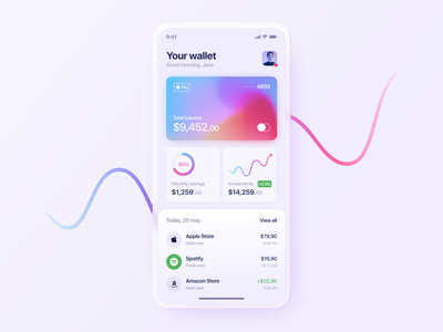 Finance: Mobile Banking App gradient interface banking app investment finance wallet fintech money banking mobile app ui