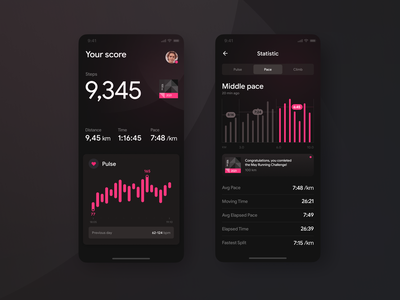 Fitness & Workout App activity stats cards personal trainer pace running gym workout interface app ui pulse mobile ui healthcare mobile app health app sports fitness