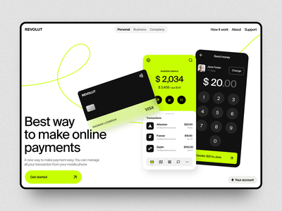 Online Banking bank card payment transactions revolut financial services product banking app money transfer mobile concept app interface ui mobile app fintech banking bank