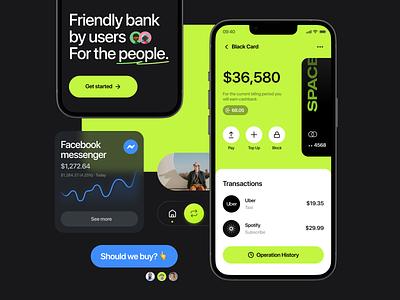 Modern banking app investment ui ux bank card interface payment banking financial app transaction startup account money neobank balance cashback finance glassmorphism trading fintech banking app