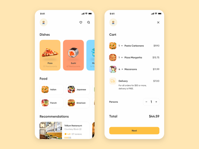 Food Delivery App dishes category typogaphy recommendations flat minimal mobile card delivery cart ux ui app ios food