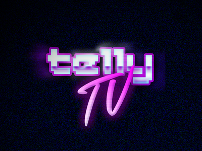 telly TV logo 80s gaming retro twitch logo brand