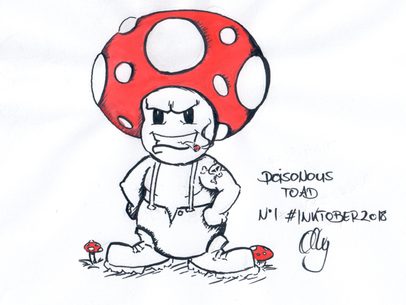 Inktober 2018 Nr. 1 - Poisonous drawing mushroom nerdy illustration inktank aquarel toad poisonous inktober 2018 inktober