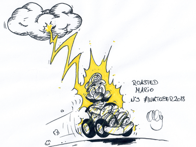 Inktober 2018 Nr. 3 - Roasted super mario kart super mario mario roasted drawing nerdy illustration inktank aquarel inktober 2018 inktober