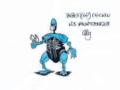 Inktober 2018 Nr. 5 - Chicken robocop robot chicken chicken drawing nerdy illustration inktank aquarel inktober 2018 inktober