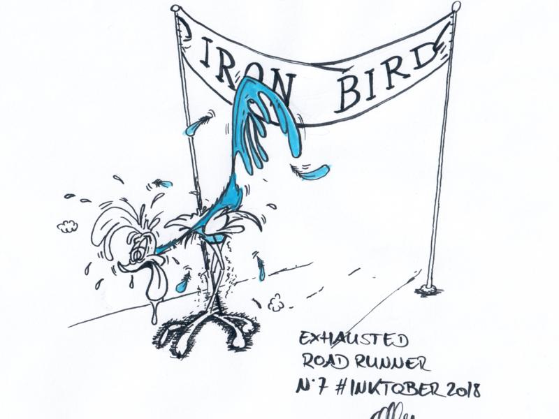 Inktober 2018 Nr. 7 - Exhausted exhausted bird iron man roadrunner drawing nerdy illustration inktank aquarel inktober 2018 inktober