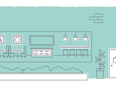 Hotel Coffee Shop hotel illustration asset creation lines