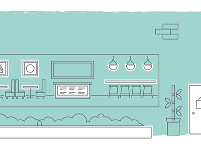 Hotel Coffee Shop hotel illustration asset creation lines