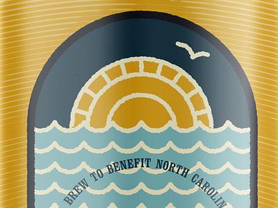 Unused Beer Label can design line illustration north carolina hurricane relief beer
