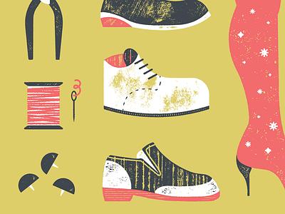 Boots cobbler texture shoes illustration