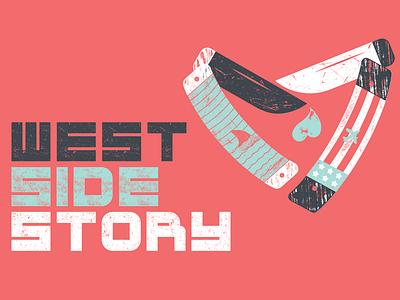 West Side Story Lettering lettering branding westsidestory theatre texture vector illustration