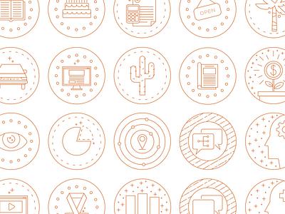 Monoline Icon Set monoline iconography vector icon set icons line illustration