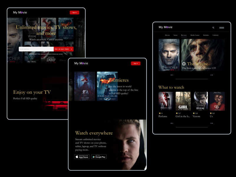 Movies movies tablet web design uidesign uxdesign ui design website design website web ux ui design