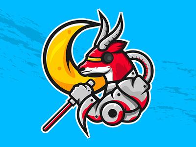 Antelope Cyborg mascot antelope artwork vector illustration design graphic design branding