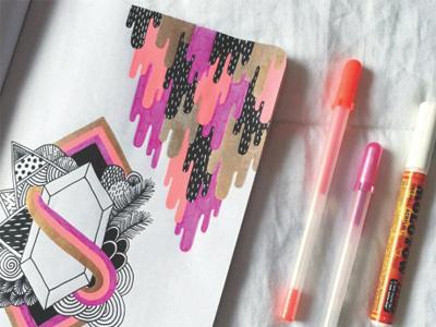 Goopies in the sketchbook coloring book surface pattern design surface design textile design paint marker gel pen doodle zentangle pattern illustration sketch sketchbook