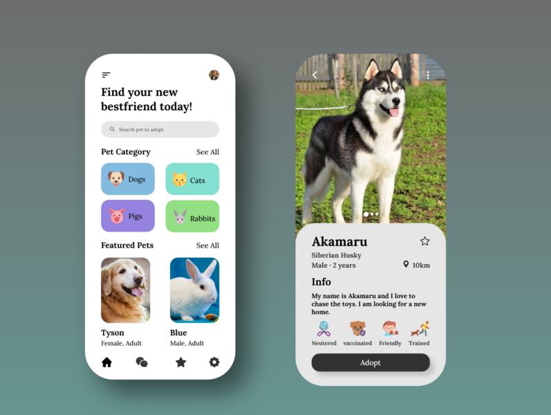 Pets Adoption App pet animal pet shop pet adoption pet care pet app adoption ui design ux ui app design app adobexd