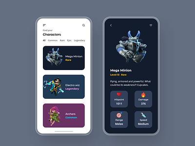 Clash royal concept art concept gaming app gaming troops game card game item clash royale ui design ux ui app design app adobexd