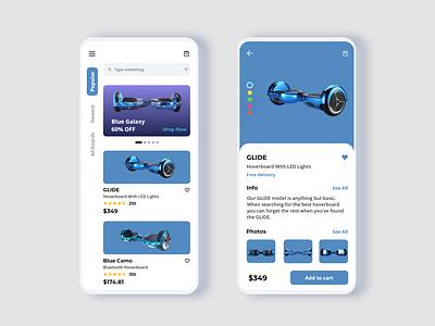 E-commerce app design - Hoverboard shop hoverboard store online shopping online shop hoverboard ecommerce design ecommerce app ui design ux ui app design app adobexd