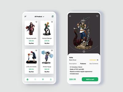 Action Figures Ecommerce App anime studio anime action figure ecommerce design ecommerce app ux design ui design ux ui app design app adobexd