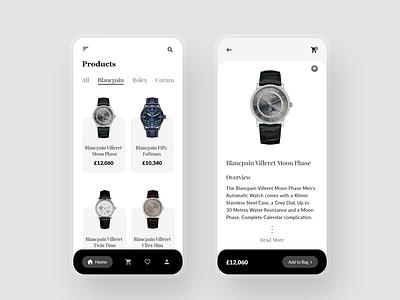 Watch Shop App ui design watch ui watches watch online store online shopping ecommerce design ecommerce app ui app design app adobexd