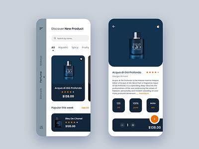 Fashion E-commerce App perfume bottle online store commerce perfume fashion app ecommerce app ui design ux ui app design app adobexd