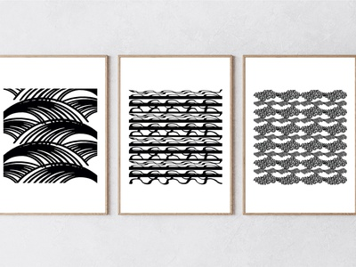 Water series of 3 interiordesign contemporary beach waves water printing print design art prints illustration design