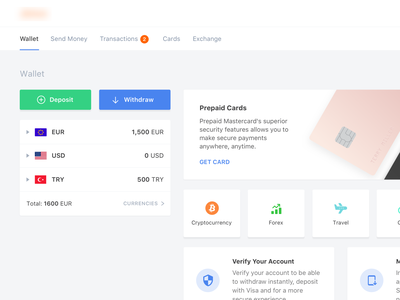 Dashboard currency send money wallet fintech dashboard form