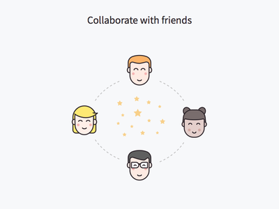 WIP - Collaborate with friends character minimal sketch illustration landing page getform