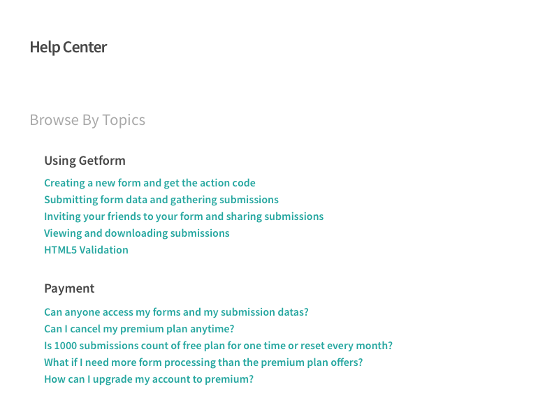 Help Center Page saas green flat getform ux ui sketch