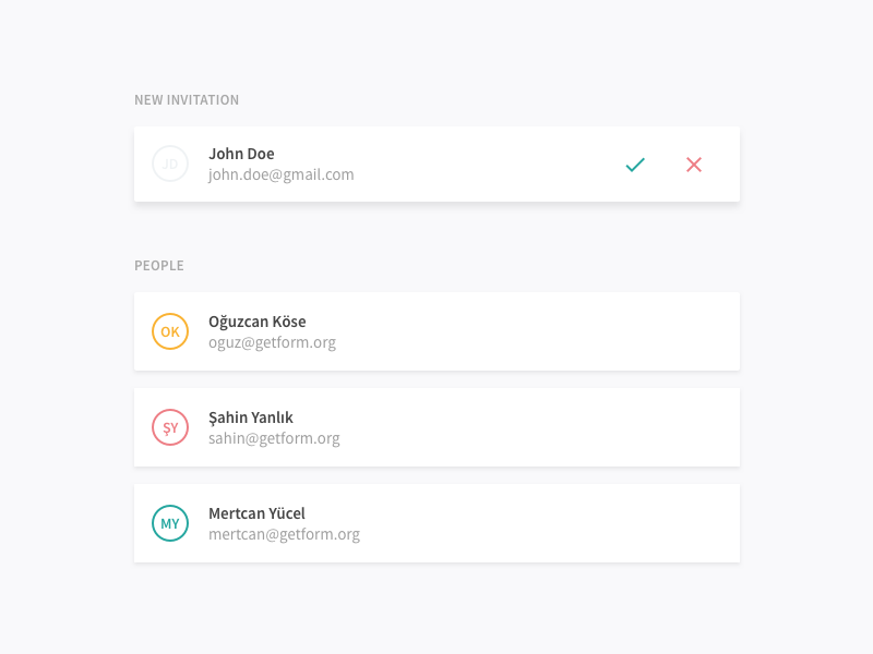 Getform - Team shadow minimal sketch green gray flat ux ui form getform