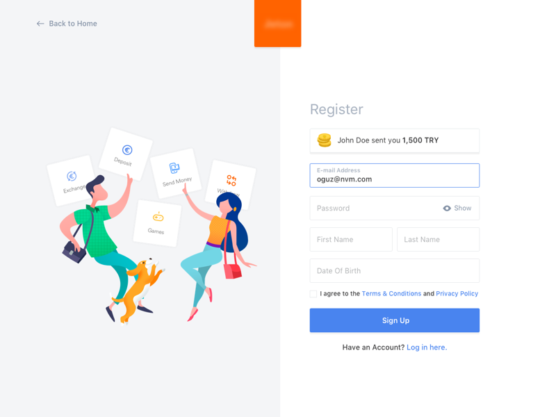 Register landing clean login illustration register