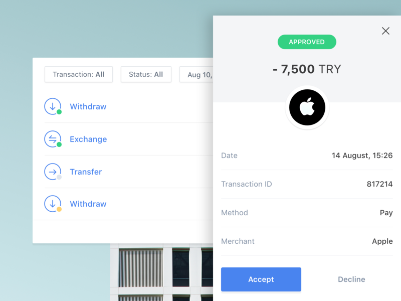 Transaction History wallet dashboard mobile ux flat sketch ui fintech