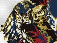 """""""Owls""""- t-shirt design detail"""
