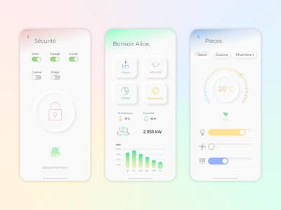 Domotic app idea neumorph neumorphism uxui uidesign mobile iphone app smarthome domotic