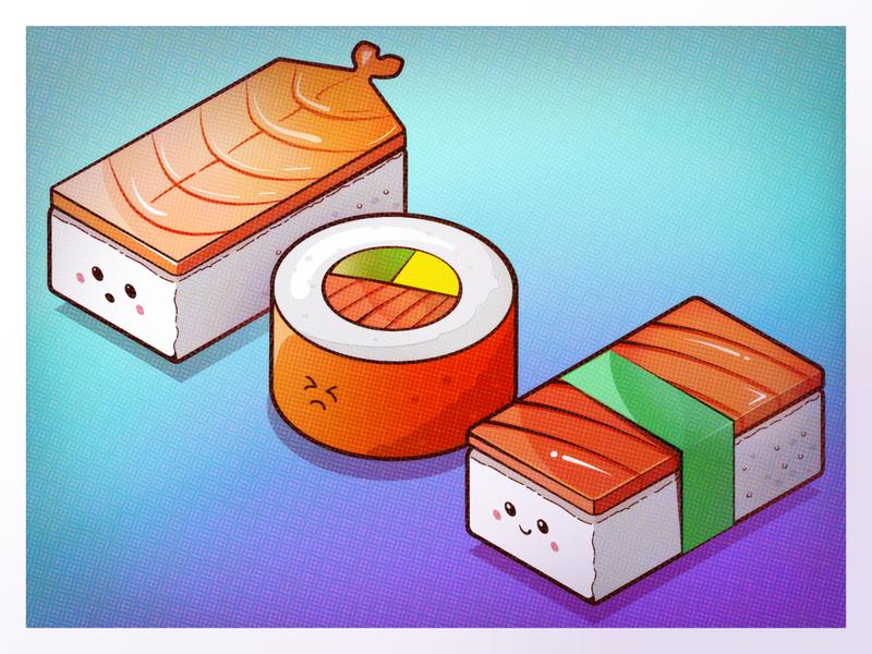 Tokyo Sushi isometric isometric illustration kawaii sushi character illustration cute