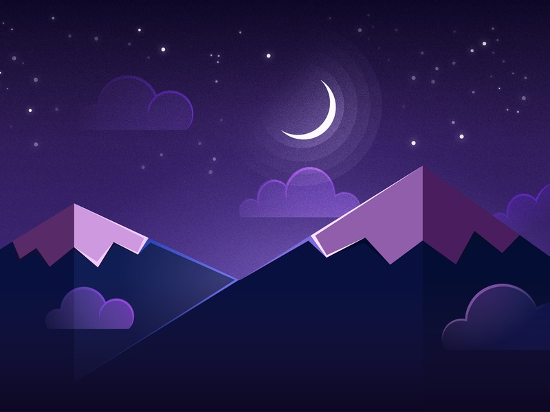 Night Time Mountains, Stars and Moon night time vector stars moon mountains illustration