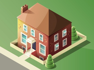 Isometric house (view from window) wip adobe illustrator vector illustration vector trees house house illustration isometric illustration isometric illustration