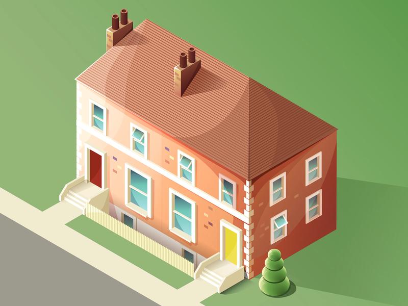 Isometric house work in progress windows street isometric house isometric illustration isometric illustrator vector illustration vector illustration